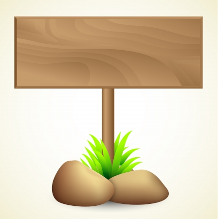 rough road: Blank wooden sign with stones and grass