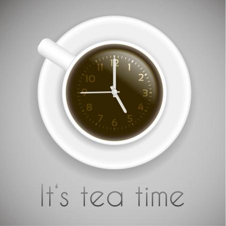 break time: tea time theme on white background