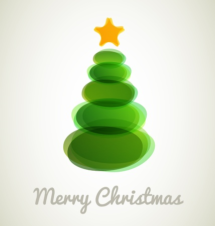 Christmas tree from ovals on vintage background Stock Vector - 15689585