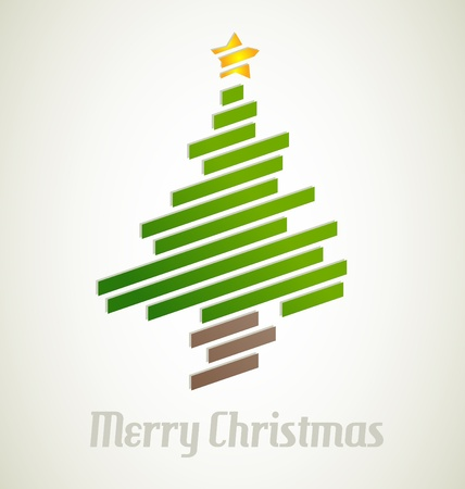 Modern Christmas tree from stripes Vector