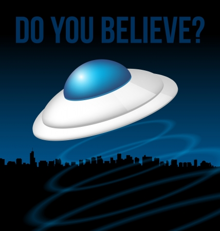 Blue Ufo above city illustration Vector