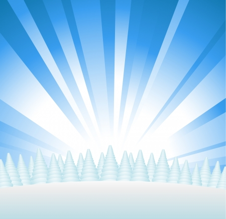 Snowy forest on hill with sunburst Vector