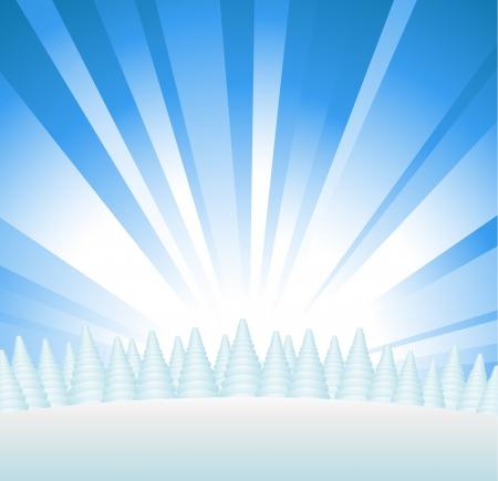 christmas scene: Snowy forest on hill with sunburst Illustration