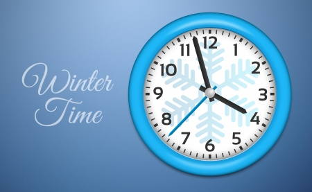 cold room: Winter Clocks with snowflake on cold blue wall