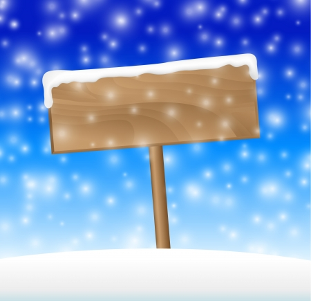 snow falling: Sign on snow meadow with falling snow