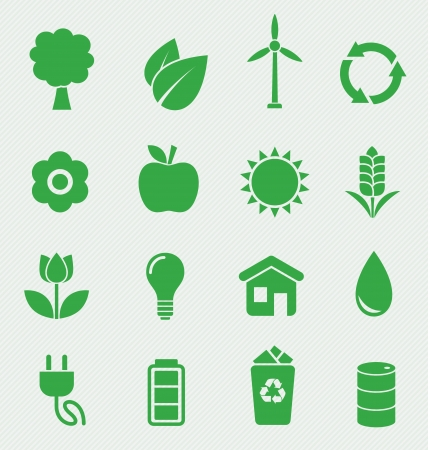 oil lamp: 16 Green Ecology icons set