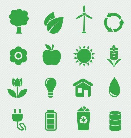 an oil lamp: 16 iconos de ecología establecer Vectores