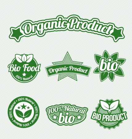 Green Organic Product Tags set Vector