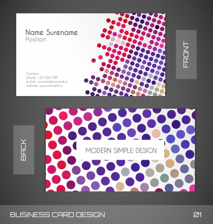 Retro Dotted Business card template Stock Vector - 17177198