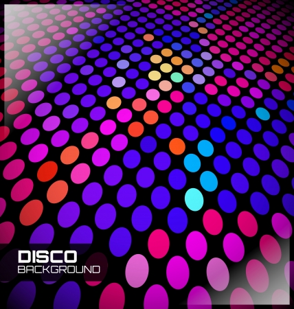 Colorful Disco Dotted Background on black Vector
