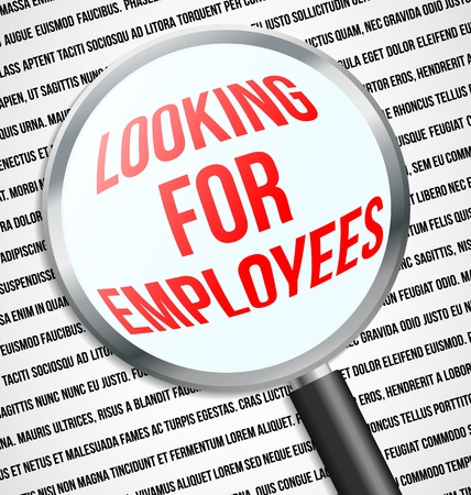 Magnifier glass over Looking for employees text in newspaper Vector