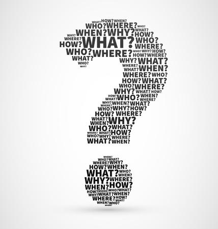 preguntando: Signo de interrogación negro de palabras interrogativas