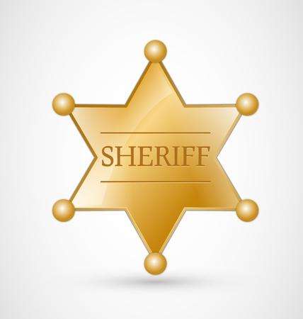 Oro Sheriff Badge estrella con la sombra