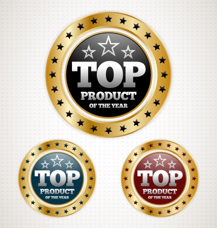 Three Top Product Gold Badges Vector