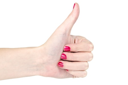 Women Hand with red nail-polish is showing thumbs up Stock Photo - 17177182