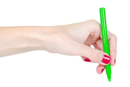 Woman hand is holding green marker isolated Stock Photo - 17177196