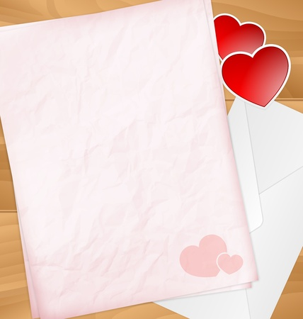 Sweet Valentine letter with stickers and envelope Stock Vector - 17513198