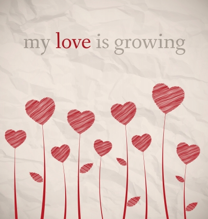 Growing hearts on brown crumpled paper Stock Vector - 17513196