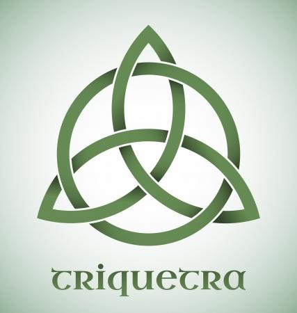keltische muster: Grüne Triquetra Symbol mit Gradienten Illustration
