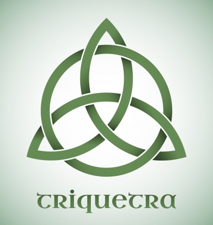 wiccan: Green Triquetra symbol with gradients Illustration