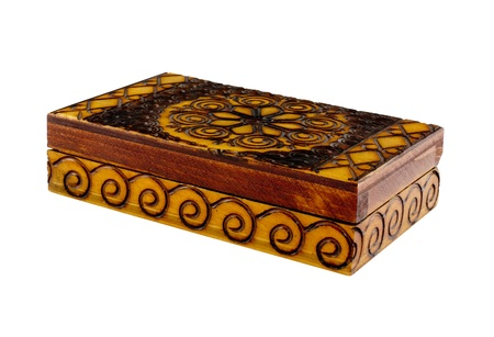 closed wooden box with coins isolated