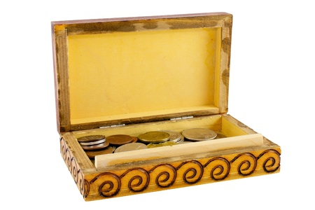 Open wooden box with coins isolated photo