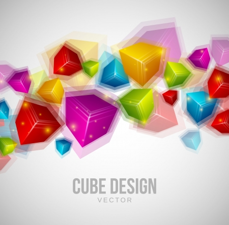 Colorful Cubes Design on gray background Stock Photo - 18429680