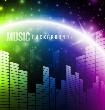 Abstract music background with bright light photo