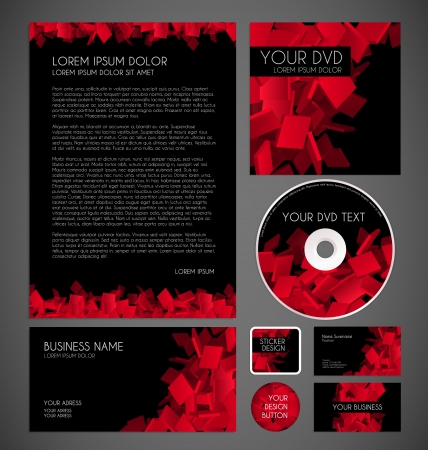 mail marketing: Modern Red Particles Graphic Business Layout