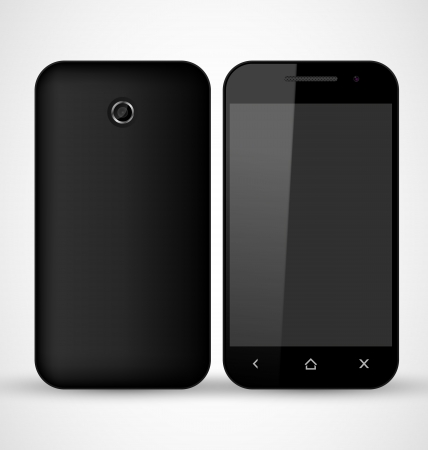 cell phones: Common Black SmartPhone front and back view