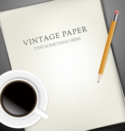 writing tools: Sheets of paper, pecin and cup of coffee on gray desk