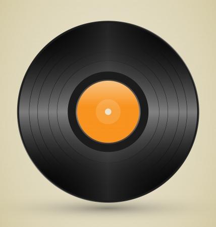 Retro vinyl on brown background photo