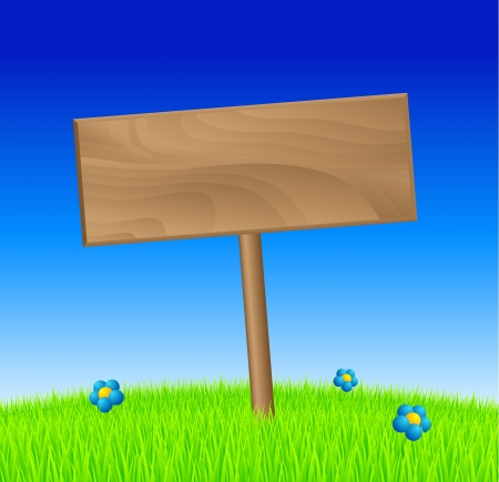 Spring wood sign in grass photo