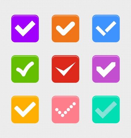 confirm: Confirm symbols set with retro look Stock Photo