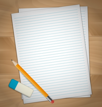 lined paper background: Sheets of paper, rubber and pencil on wooden desk