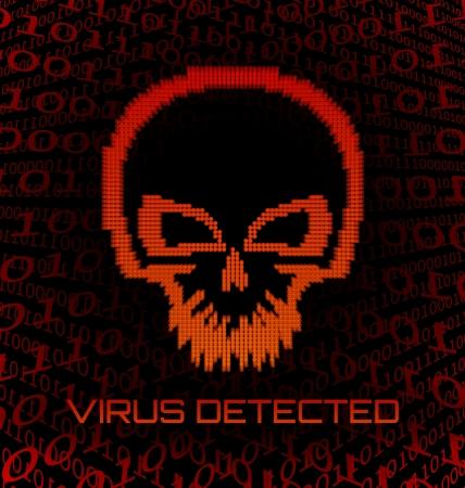 computer program: Digital skull virus on black background