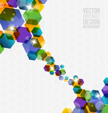 Abstract hexagon design with many colors Stock Vector - 18820518