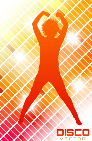 Colorful Disco party poster with silhouette Vector