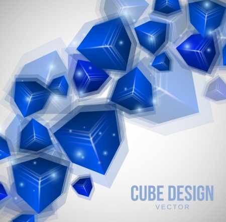 Blue Cubes Design on gray background Stock Vector - 18820533