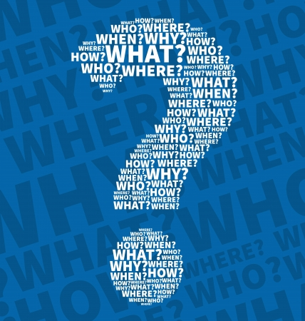White Question mark from Question words Vector
