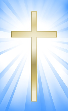 the christian religion: Cross on blue sunburst background