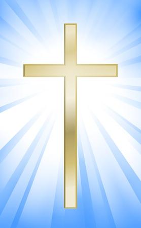 christian cross: Cross on blue sunburst background