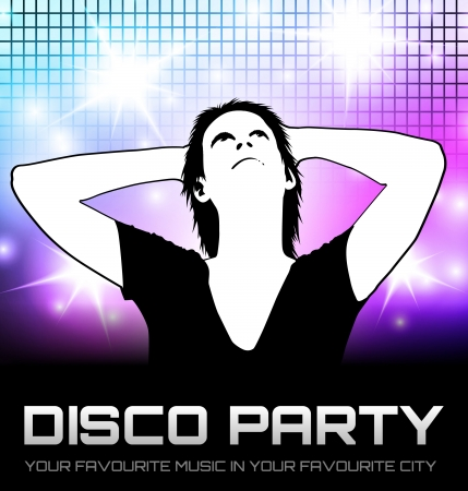 Colorful Disco party poster with girl looking up photo