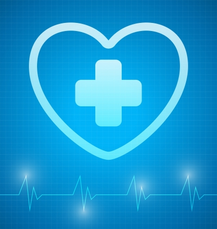 Heart with cross and with heartbeat graph Stock Photo - 19071193