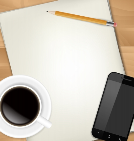 Sheets of paper, pencil, cup of coffee and smartphone on table photo