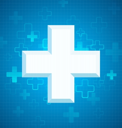 Blue medical design with big cross Vector