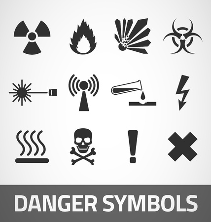 hazard damage: Common Danger symbols set