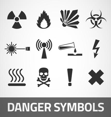 descarga electrica: Símbolos de peligro común establecido