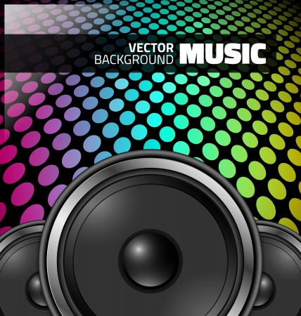 sound recording equipment: Vector music design - colorful night party