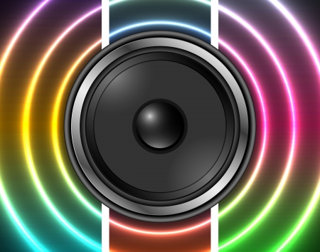 Speaker with abstract rainbow background Vector